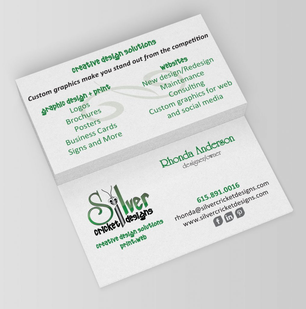 silver cricket designs' business card showing branding