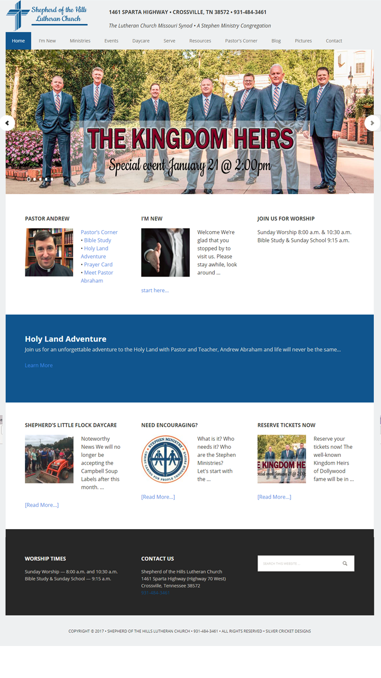 Shepherd of the Hills website redesign by silver cricket designs