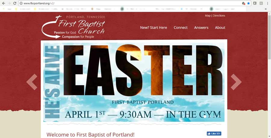 custom website artwork created for First Baptist