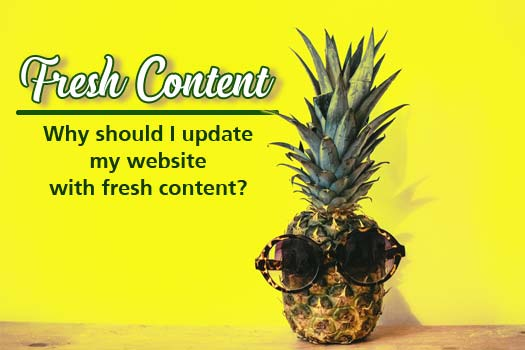 Why is fresh content needed for my website, pineapple with sunglasses