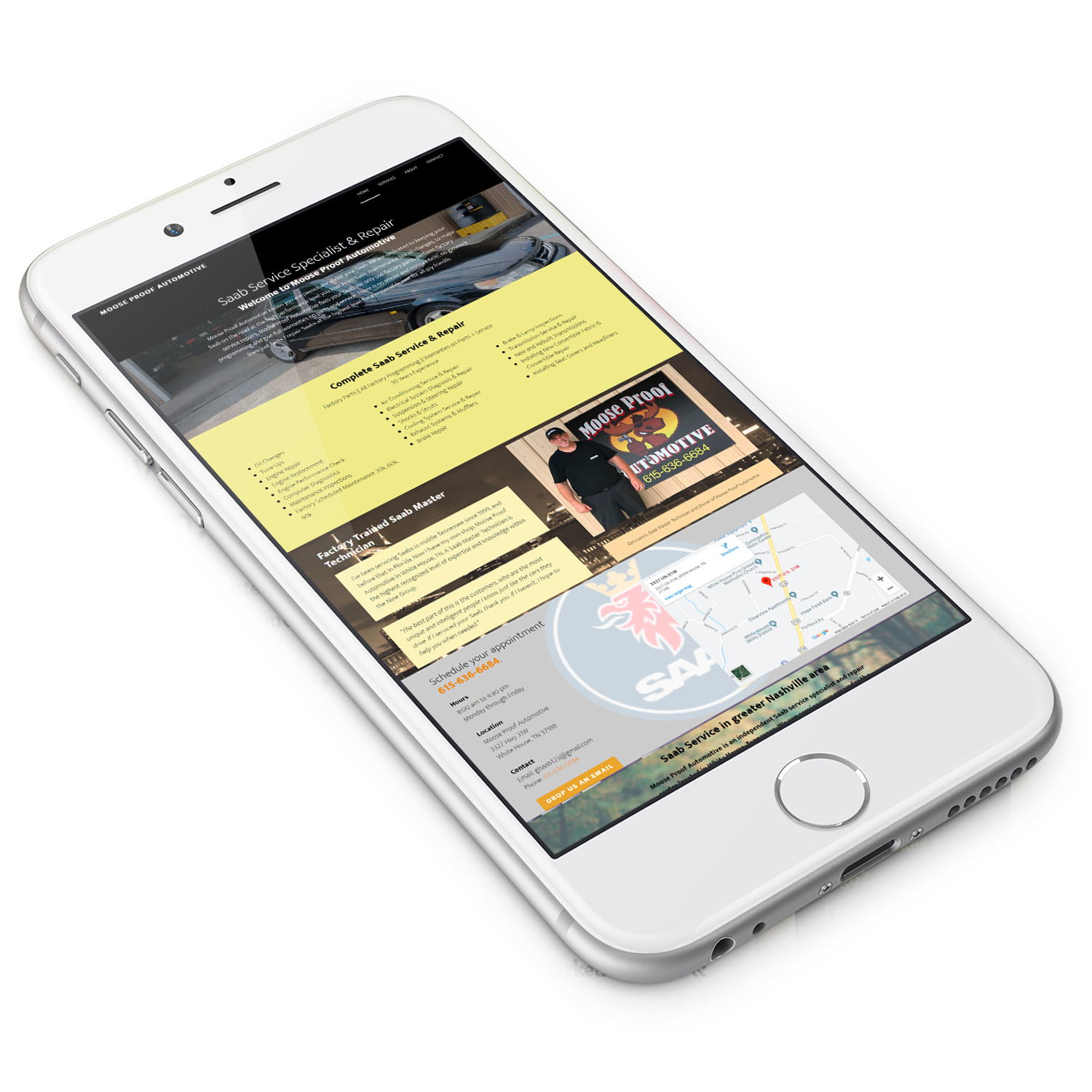 Moose Proof Automotive is a mobile responsive website built by Silver Cricket Designs