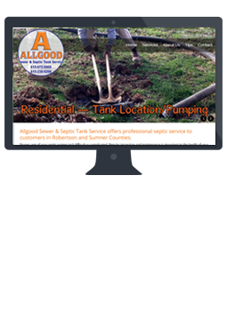 Allgood sewer and septic tank service website and branding