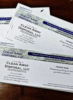 Coupon payment book and flyer for Clean Away Disposal, LLC