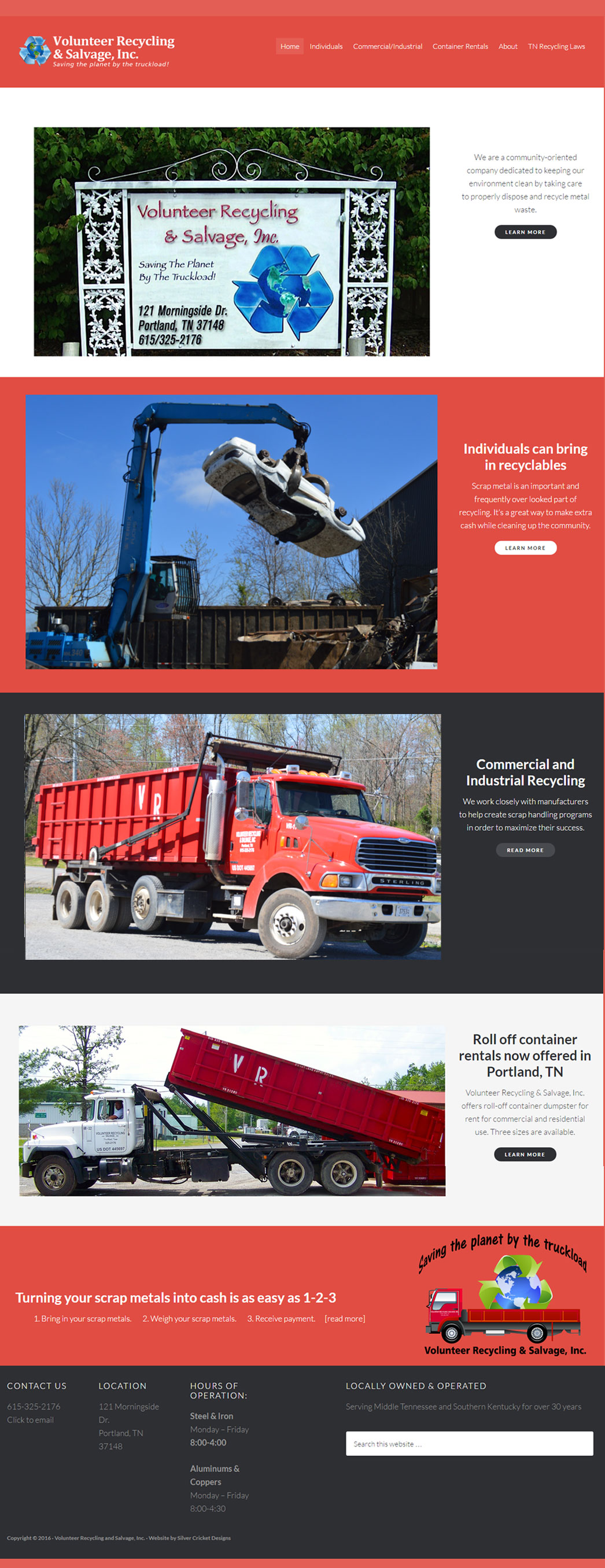 Website redesign for Volunteer Recycling and Salvage, Inc. Portland, TN